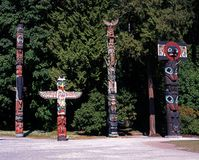 Totem Poles, Stanley Park, Bancouver. Royalty Free Stock Photos