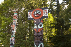 Totem poles in Stanley Park, Vancouver Royalty Free Stock Photo