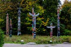 Totem Poles in Stanley Park, Vancouver, BC. Royalty Free Stock Image