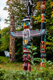 The Totem Poles, Stanley Park, Vancouver, BC. Stock Photo