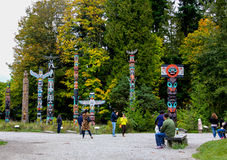 The Totem Poles, Stanley Park, Vancouver, BC. Royalty Free Stock Photography