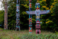 The Totem Poles, Stanley Park, Vancouver, BC. Stock Image