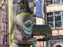 Totem Polonais dans la place pionnière Photo stock