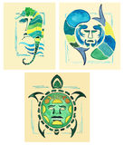 Totem sea horse. Totem Turtle. Marine totem. Marine totems drawn watercolor. Royalty Free Stock Image