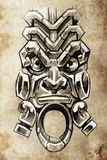 Totem, Tattoo sketch, handmade design Stock Photos