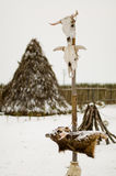 Totem in a Teepee village. Totem in a snowy Teepee village stock photo