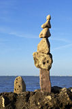 Totem of zen stones on beach Royalty Free Stock Photos