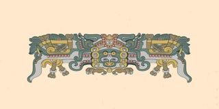 Totemic uil tijdens de vlucht Mayan grafische illustratie stock illustratie