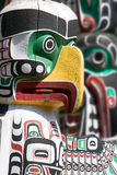Totems. Detail of a totem pole in Stanley Park, Vancouver Stock Images