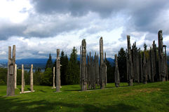 Totems Pôle, Canada photo stock