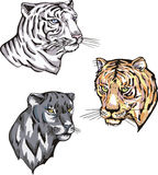 Totems - panther and tigers with solar signs Royalty Free Stock Photography