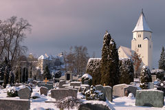Totenberg cemetery and the Peterskirche in Heidenheim in winter Stock Images