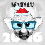 Totenkopfäffchen-Hippie mit blauen Gläsern und Weihnachtshut Stockbild