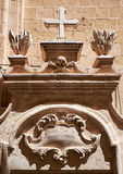 The Totenkopf  as decorative element over the entrance to the re. The Totenkopf, skull and crossbones, a dead's head symbol,  as a decorative element over the Royalty Free Stock Photography