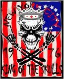 Totenkopf mit gekreuzter Knochen/ein Kennzeichen der Gefahrenwarnung/der T-Shirt Grafiken/Superder schädelillustration Stockfoto