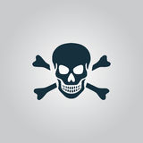 Totenkopf mit gekreuzter Knochen-Ikone lokalisiert Lizenzfreie Stockfotografie