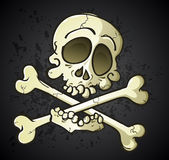 Totenkopf mit gekreuzter Knochen Jolly Roger Cartoon Character Stockbild