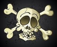 Totenkopf mit gekreuzter Knochen Jolly Roger Cartoon Character Stockbilder
