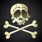 Totenkopf mit gekreuzter Knochen Jolly Roger Cartoon Character Lizenzfreies Stockfoto