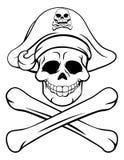 Totenkopf mit gekreuzter Knochen-Piraten-Karikatur Stockfoto