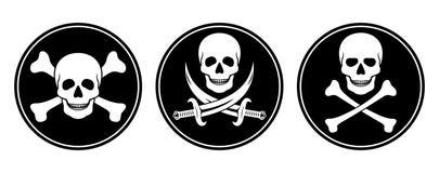 Totenkopf mit gekreuzter Knochen und Schädel mit Klingen im Vektor Stockfotos