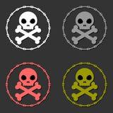 Totenkopf mit gekreuzter Knochen-Zeichen-Symbolsatz Lizenzfreie Stockfotografie