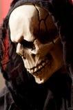 Totenkopfschädeldetail über roten Hintergrund Stockfoto