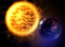 Toter Lavaplanet im kalten sapce mit großer Sonne Stockfotografie