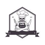 Toter Schädel-Chef Grinning mit für, Knive und Hut Restaurantlogoschablone Hexagon-Vektor-Zeichnung lizenzfreie abbildung
