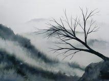 Toter trockener Baumstand des Aquarelllandschaftsgebirgsnebels allein traditionelle orientalische Tintenasien-Kunstart stock abbildung
