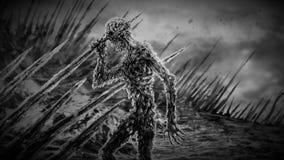 Toter Zombie auf Stangen Schwarzweiss-Farbe lizenzfreie stockbilder