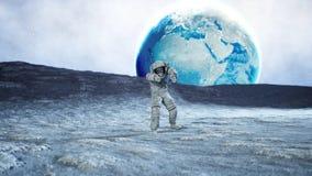 Toter Zombieastronaut auf Mond kadaver Wiedergabe 3d Lizenzfreie Stockfotos