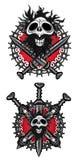 Totes Mannschädeldesign mit Klingen- und Metallkettenhintergrund Lizenzfreies Stockbild