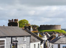 Totnes Castle in Hams Devon England. Totnes Castle is one of the best preserved examples of a Norman motte and bailey castle in England. It is situated in the Royalty Free Stock Photo