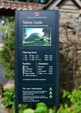 Totnes Castle Sign Legacy of the Normans. Totnes Castle is one of the best preserved examples of a Norman motte and bailey castle in England. It is situated in Stock Image