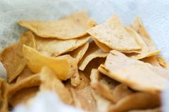 Totopos, typical Mexican snack chips stock photos
