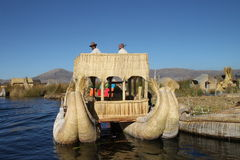 Totora boat, Peru. Boat made from totora plant, specific transportation on lake Titicaca, Peru