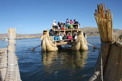 Totora boat, Peru Royalty Free Stock Photos