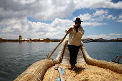 Totora boat, Peru Royalty Free Stock Photo