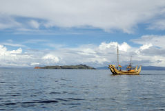Totora boat on the Titicaca Lake Royalty Free Stock Photo