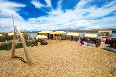 Totora boat on the Titicaca lake near Puno Royalty Free Stock Photography