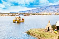 Totora boat on the Titicaca lake. Near Puno, Peru Stock Photography