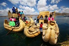 Totora Boot, Peru Stockfotos
