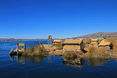 Totora reed floating islands Uros, lake Titicaca, Peru Stock Image