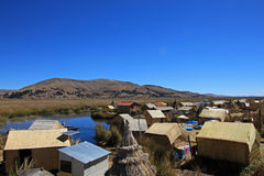 Totora reed floating islands Uros, lake Titicaca, Peru Royalty Free Stock Images