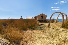Totora reed village on Uros Island, Titicaca Lake, Peru Royalty Free Stock Images