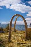 Totora reed village on Uros Island, Titicaca Lake, Peru Stock Photography