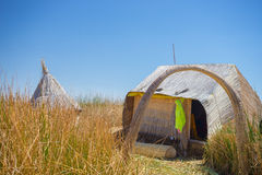 Totora reed village on Uros Island, Titicaca Lake, Peru Stock Photos