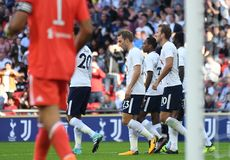 Tottenham goal celebration. Football players pictured during preseason friendly game game between Tottenham Hotspur and Juventus Torino on August 28, 5 at Royalty Free Stock Photos