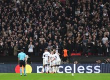 Tottenham goal celebration. Football players pictured during the UEFA Champions League Group H game between Tottenham Hotspur and Real Madrid on November 1, 2017 Stock Images